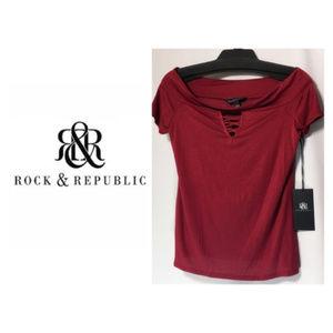 Rock & Republic Top Sz XS S M Red Off Shoulder NWT